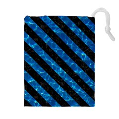 Stripes3 Black Marble & Deep Blue Water (r) Drawstring Pouches (extra Large)