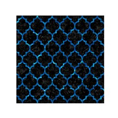 Tile1 Black Marble & Deep Blue Water Small Satin Scarf (square)