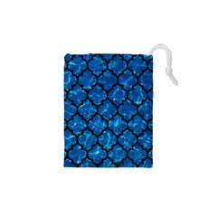 Tile1 Black Marble & Deep Blue Water (r) Drawstring Pouches (xs)