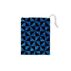 Triangle1 Black Marble & Deep Blue Water Drawstring Pouches (xs)