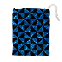 Triangle1 Black Marble & Deep Blue Water Drawstring Pouches (extra Large)