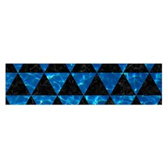 Triangle3 Black Marble & Deep Blue Water Satin Scarf (oblong)