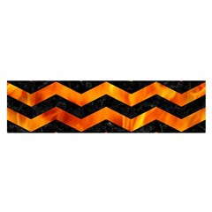 Chevron3 Black Marble & Fire Satin Scarf (oblong)