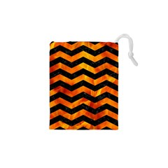 Chevron3 Black Marble & Fire Drawstring Pouches (xs)