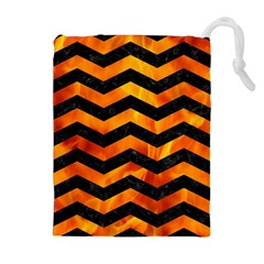 Chevron3 Black Marble & Fire Drawstring Pouches (extra Large)