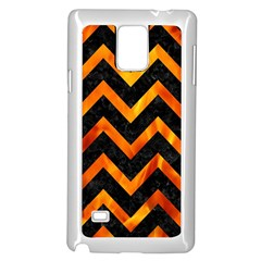 Chevron9 Black Marble & Fire Samsung Galaxy Note 4 Case (white)
