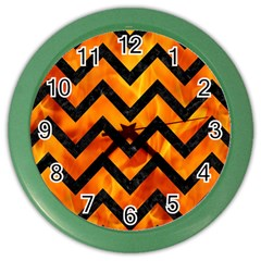 Chevron9 Black Marble & Fire (r) Color Wall Clocks