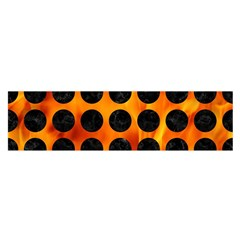 Circles1 Black Marble & Fire (r) Satin Scarf (oblong)