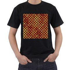 Circles3 Black Marble & Fire Men s T Shirt (black) (two Sided)