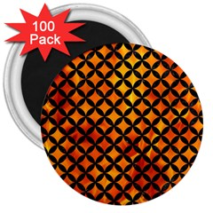 Circles3 Black Marble & Fire (r) 3  Magnets (100 Pack)