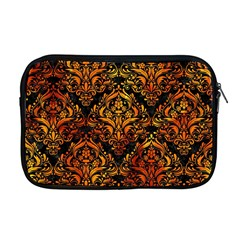 Damask1 Black Marble & Fire Apple Macbook Pro 17  Zipper Case