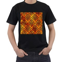 Damask1 Black Marble & Fire (r) Men s T Shirt (black) (two Sided)