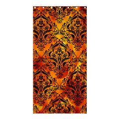Damask1 Black Marble & Fire (r) Shower Curtain 36  X 72  (stall)