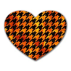 Houndstooth1 Black Marble & Fire Heart Mousepads