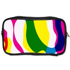 Anatomicalrainbow Wave Chevron Pink Blue Yellow Green Toiletries Bags 2 Side