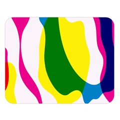 Anatomicalrainbow Wave Chevron Pink Blue Yellow Green Double Sided Flano Blanket (large)