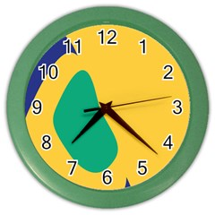 Yellow Green Blue Color Wall Clocks