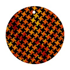 Houndstooth2 Black Marble & Fire Round Ornament (two Sides)
