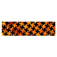 Houndstooth2 Black Marble & Fire Satin Scarf (oblong)
