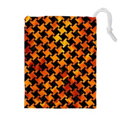 Houndstooth2 Black Marble & Fire Drawstring Pouches (extra Large)