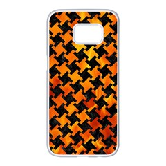 Houndstooth2 Black Marble & Fire Samsung Galaxy S7 Edge White Seamless Case