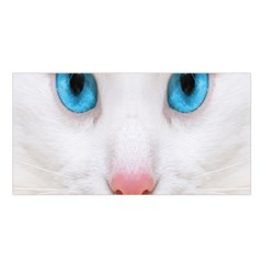 Beautiful White Face Cat Animals Blue Eye Satin Shawl