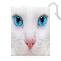Beautiful White Face Cat Animals Blue Eye Drawstring Pouches (xxl)