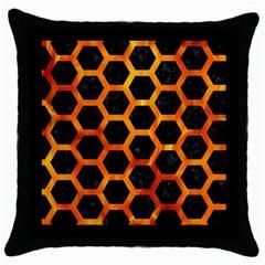 Hexagon2 Black Marble & Fire Throw Pillow Case (black)