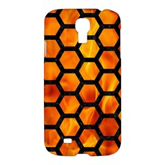 Hexagon2 Black Marble & Fire (r) Samsung Galaxy S4 I9500/i9505 Hardshell Case
