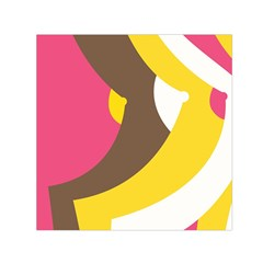 Breast Pink Brown Yellow White Rainbow Small Satin Scarf (square)