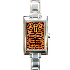 Skin2 Black Marble & Fire (r) Rectangle Italian Charm Watch