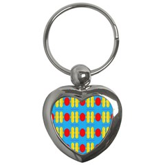 Ovals And Stripes Pattern                            Key Chain (heart)
