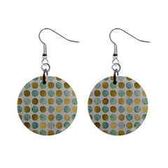 Green And Golden Dots Pattern                            1  Button Earrings
