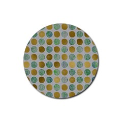Green And Golden Dots Pattern                            Rubber Round Coaster (4 Pack)
