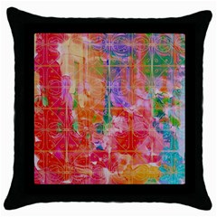 Colorful Watercolors Pattern                            Throw Pillow Case (black)