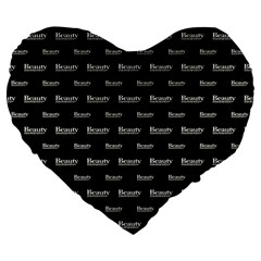 Beauty Moments Phrase Pattern Large 19  Premium Flano Heart Shape Cushions
