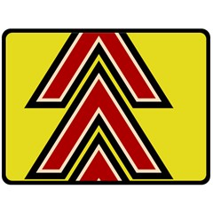 Chevron Symbols Multiple Large Red Yellow Double Sided Fleece Blanket (large)