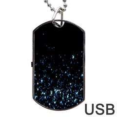 Blue Glowing Star Particle Random Motion Graphic Space Black Dog Tag Usb Flash (one Side)