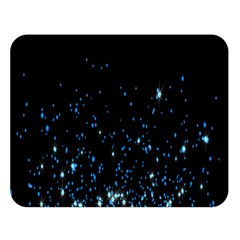 Blue Glowing Star Particle Random Motion Graphic Space Black Double Sided Flano Blanket (large)