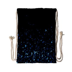 Blue Glowing Star Particle Random Motion Graphic Space Black Drawstring Bag (small)
