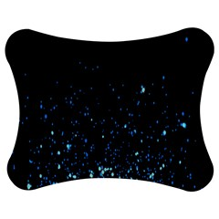 Blue Glowing Star Particle Random Motion Graphic Space Black Jigsaw Puzzle Photo Stand (bow)