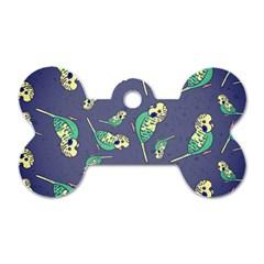 Canaries Budgie Pattern Bird Animals Cute Dog Tag Bone (one Side)