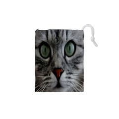 Cat Face Eyes Gray Fluffy Cute Animals Drawstring Pouches (xs)