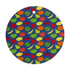 Fruit Melon Cherry Apple Strawberry Banana Apple Round Ornament (two Sides)