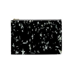 Falling Spinning Silver Stars Space White Black Cosmetic Bag (medium)