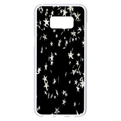 Falling Spinning Silver Stars Space White Black Samsung Galaxy S8 Plus White Seamless Case