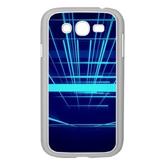 Grid Structure Blue Line Samsung Galaxy Grand Duos I9082 Case (white)