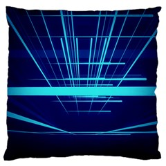 Grid Structure Blue Line Standard Flano Cushion Case (one Side)