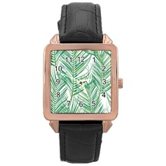 Jungle Fever Green Leaves Rose Gold Leather Watch