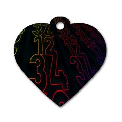 Neon Number Dog Tag Heart (one Side)